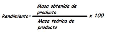 rendimiento en las reacciones quimicas