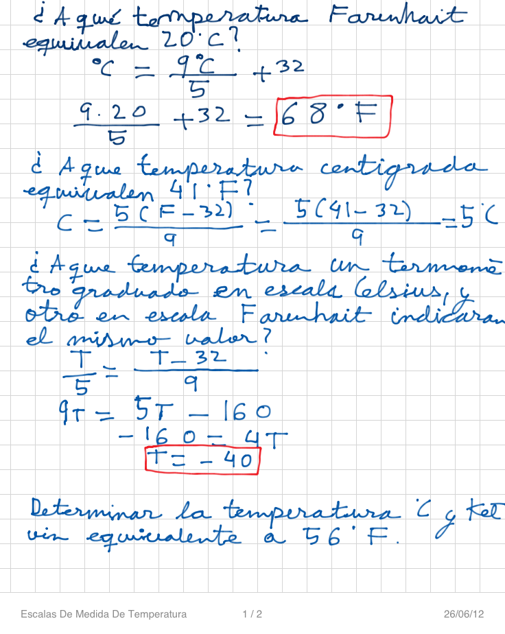 Problemas con las escalas de medida de temperatura for Escala de medidas