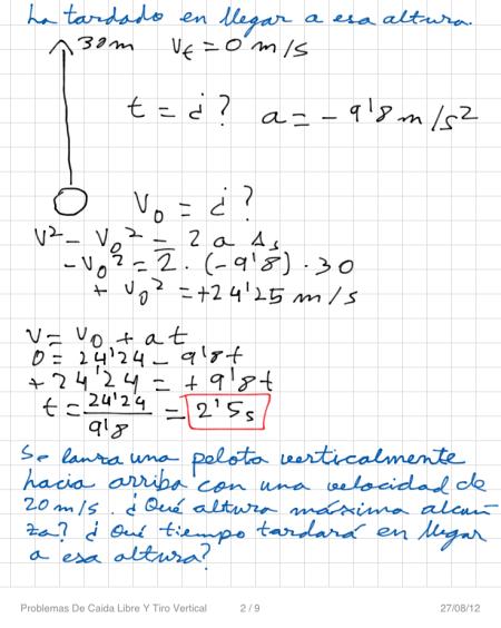 Problemas De Caida Libre Y Tiro Vertical P2