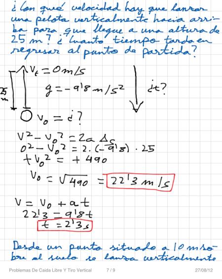 Problemas De Caida Libre Y Tiro Vertical P7