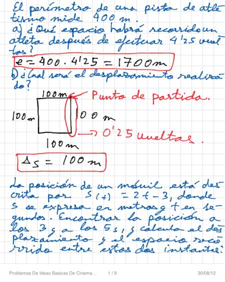 Problemas De Ideas Basicas De Cinematica P1